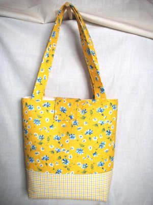Structured Medium Tote, Diaper bag, Knit or Sew Tote, Carry all - Yellow with Blue Flowers