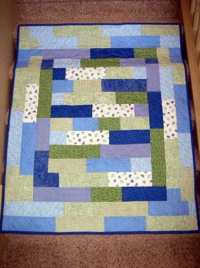 "Ocean Theme Kiddie Quilt with BONUS Travel Pillowcase - Blue, Green - 45.5"" x 55.5"""