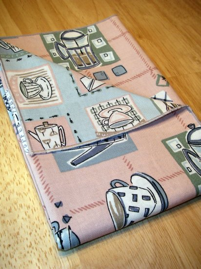 Retro Coffee Cups - Pink / Blue- Double Sided Cloth Napkins - Set of 4