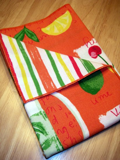 Napkins - Citrus Stripe - Double Sided Cloth Napkins - Set of 4
