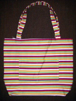 Large Tote - Bright Modern Stripe - Fabric Handles