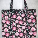 Large Tote -  Funky Kitty - Fabric Handles