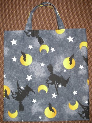 Witches on Brooms - Reusable Trick or Treat Tote or Gift Bag