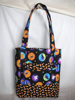 Structured Large Tote, Diaper bag, Knit or Sew Tote, Carry all - Spooky Halloween