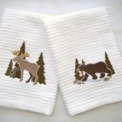 Mountain Bear and Moose - Embroidered Hand Towels - Set of 2