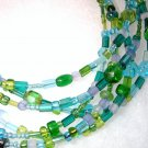 Six Strand Glass Bead Necklace - Seabreeze mix