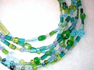 Six Strand Glass Bead Necklace - Seabreeze mix