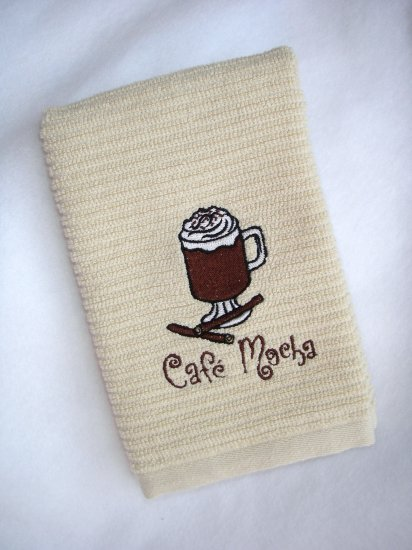 Cafe Mocha Coffee - Embroidered Hand Towel