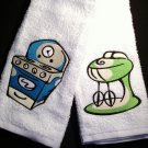 Retro Kitchen Themed Embroidered Hand Towels - Set of 2