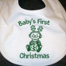 Baby&#39;s First Christmas Baby Bib - Green