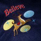 "Believe - Reindeer on Navy Blue Fleece Throw Embroidered Blanket - Holiday  - 60"" x 50"""