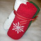 Washcloths Snowflake designs - Set of 3 - Red, Green and White - Embroidered
