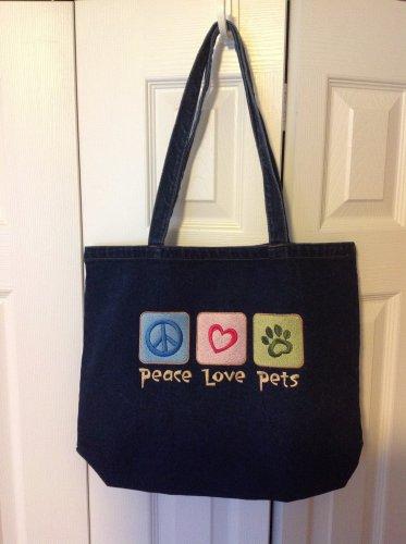 Peace, Love, Pets denim tote bag