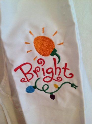 Child's sized Apron - Bright Holiday light Christmas design - white apron