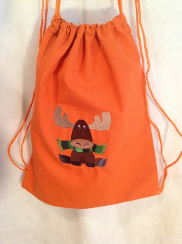 Moose with scarf drawstring backpack bag