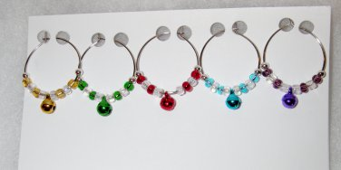 Tiny Jingle Bells Wine Charms - Set of 5 - Bright Colored Beads