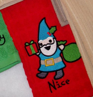 Nice Gnome Embroidered Terry Cloth Towel