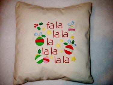 Fa La La - Embroidered Pillow Cover