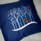 Deer in Trees - Embroidered Pillow Cover