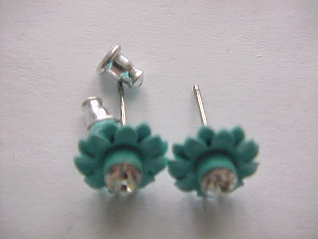 blue enamel flower crystal earrings