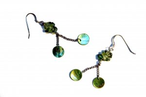 Glass Rock and Natural Shell Drop Earrings - Mint