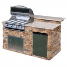 6 Ft. Stone BBQ Grill Island With Granite Top - 4 Burner Gas Grill
