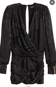 BALMAIN x H&M Jacquard-weave Silk Dress - Black Size 6 sold out