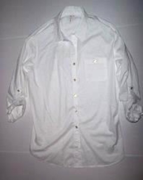 Pre-owned GRAND & GREENE Women's White 3/4 Sleeve Shirt with Gold Buttons Size L