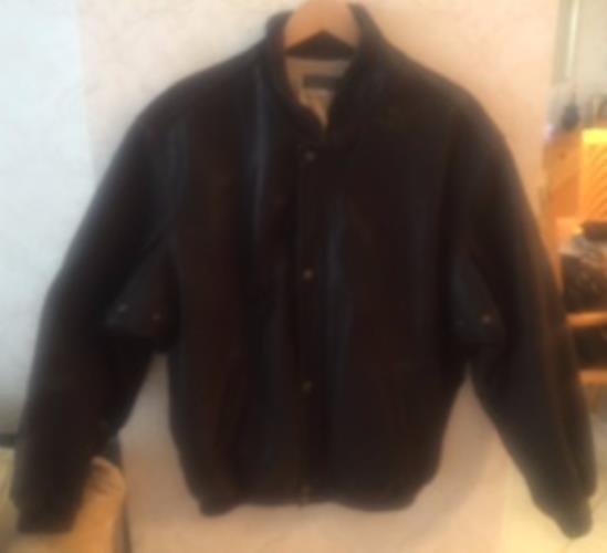 Pre-owned BARNEYS NEW YORK Men's Black Leather Bomber Jacket SZ L