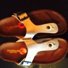 NWOB Modabella Gold Thong Sandal Low Cork Wedge  SZ 6 Italy
