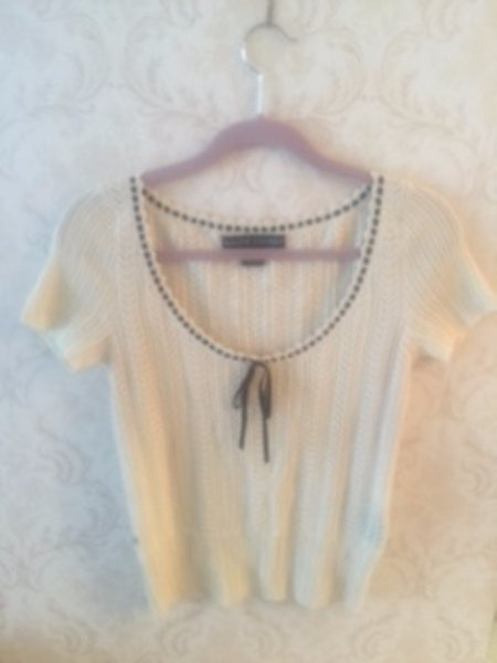 NWOT RALPH LAUREN White Crochet Top w/ Black Ribbon Bow Detail SZ M