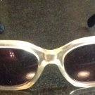 Vtg Chariol Clear Acetate Hexagon Frames w/ Black & Gold Arm Sunglasses