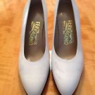 Authentic SALVATORE FERRAGAMO white leather black  heels w 3.75'' heels SZ 6.5