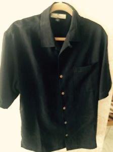 Nwot Tommy Bahama Black 100% Silk Button Down Shirt Sz M