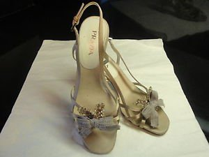 Prada Nude Satin Strappy Sexy Evening  w  Bow Embellishment Size 37.5