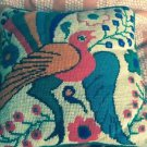 EUC VTG Multicolor Bird Peacock 1970s Crochet Pillow SZ S