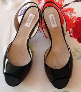 NWOB Max Mara Black Patent Leather Peeptoe Slingback Sandals SZ 37 Made in Italy