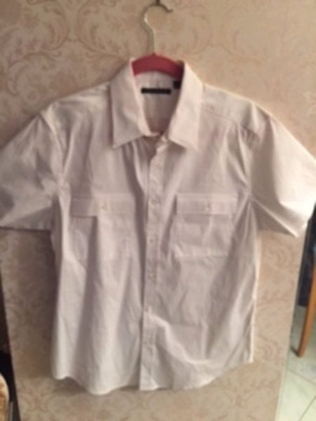 Pre-owned THEORY white cotton blend short sleeve button down shirt SZ M