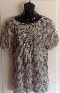 LN DKNY Jeans Multicolor Cotton Batik Printed Jacquard Short Sleeve Top SZ M