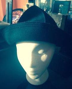EUC Black Felt Buckle Hat w/ Silver Buckle Detail SZ S