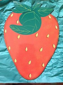 Set of 6 J. Touissant Wood  HAITIAN FOLK ART Strawberry Placemats/Wall Art