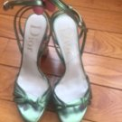 Pre-owned DIOR Green Metallic Ankle Wrap Around Platform Sandals SZ 36.5 Italy