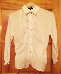 Pre-owned PHILIPPE ADEC PARIS  White Cotton Blend Blouse Rufflel SZ 6