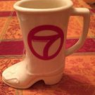 VTG Off White Cream Cowboy Boot Mug Stein WLS-TV CHICAGO