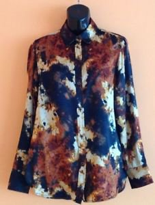 EUC Rachel Roy Signature Abstract Flame Print 100% Silk Blouse SZ 2