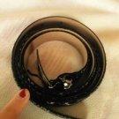 VTG EUROMETAL  Gray & Black Snakeskin Print Skinny Leather Belt Made in italy