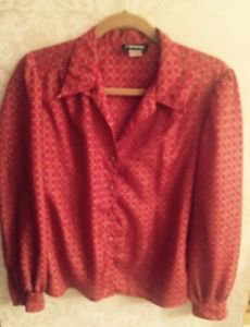 Euc Vtg Gianna Red Yellow Chain Link Design Blouse Sz Us 6