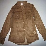 Pre-owned JOE FRESH JC PENNY Women's Brown Long Sleeve Blouse Size XS