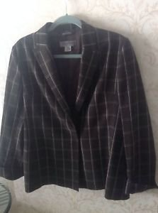 EUC Bill Burns 100% Wool Brown Plaid Jacket SZ 8 Made in Italy