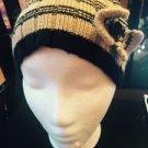 Pre-owned Wool Blend Beige & Black Striped Cloche Style Hat Bow Detail SZ S